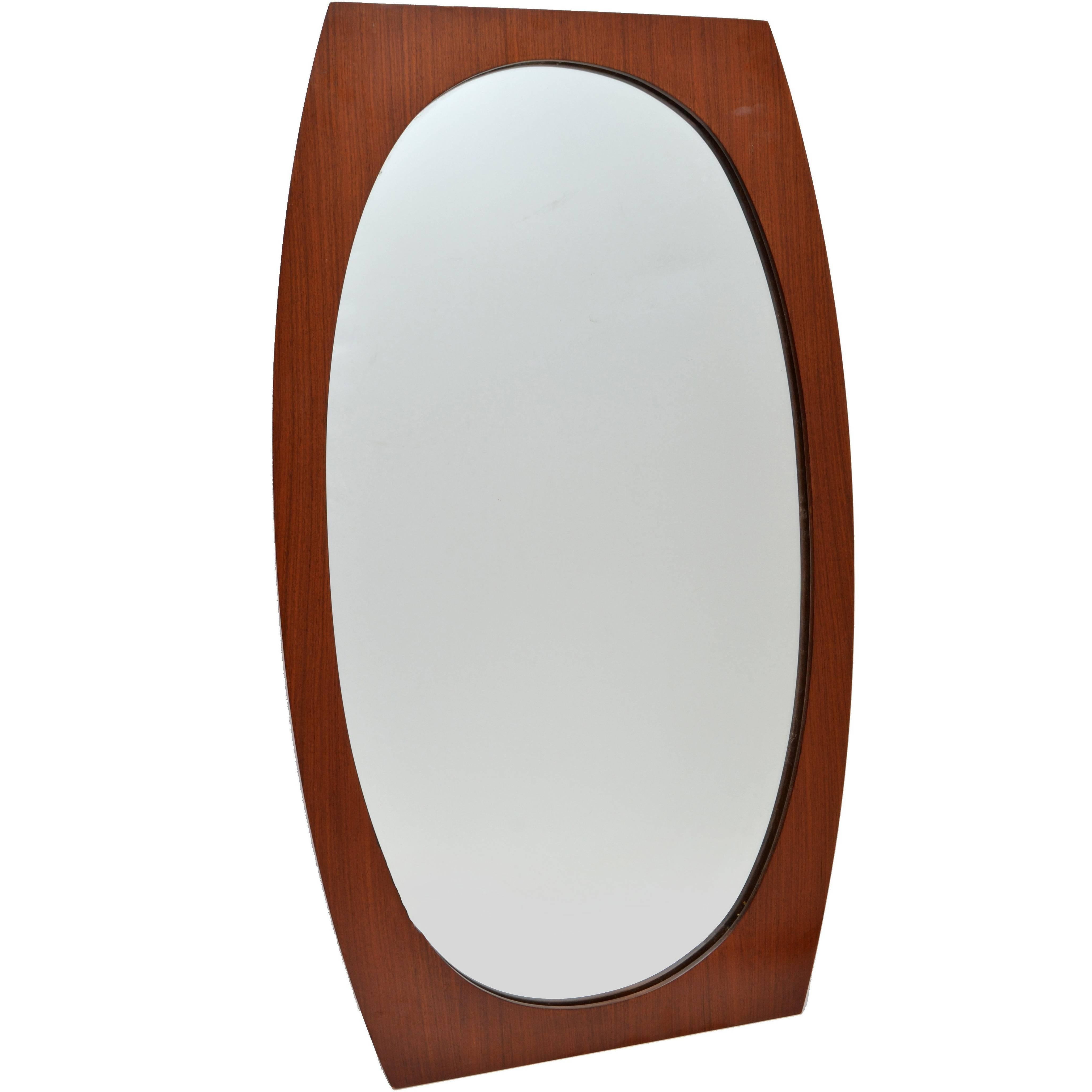 Oval Scandinavian Modern Walnut Wall Mirror