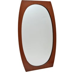 Oval Danish Modern Walnut Wall Mirror