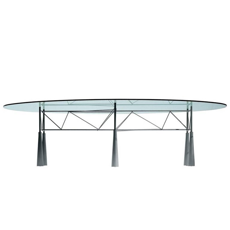"""Lybra"" Tempered Glass and Steel Table Designed by Elliott Littman for Driade"