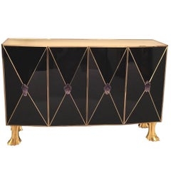 American Post-War Design 'Modern' Black Glass and Brass Trim Cabinet
