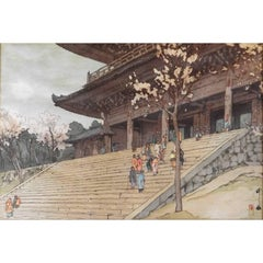 Japanese Woodblock Print of Chion-In Temple Gate by Hiroshi Yoshida