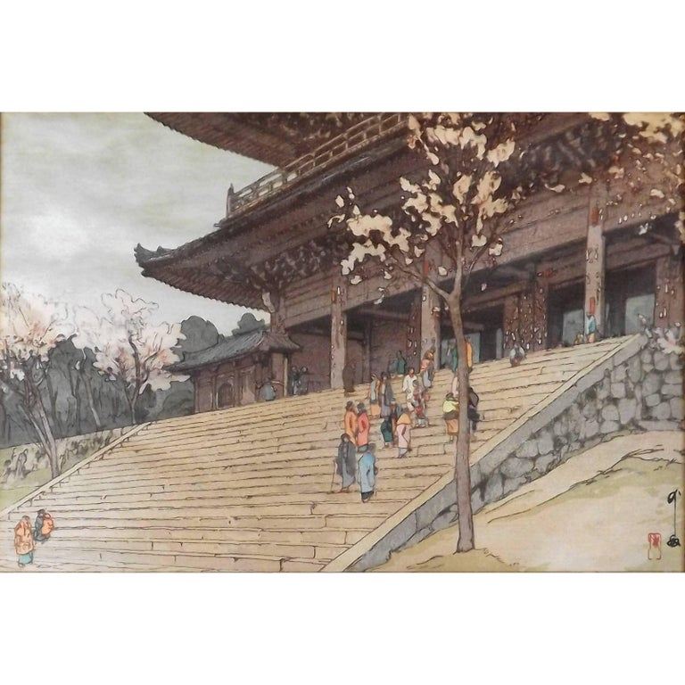 Japanese Woodblock Print of Chion-In Temple Gate by Hiroshi Yoshida For Sale