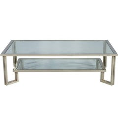 Midcentury Chrome and Glass Coffee Table
