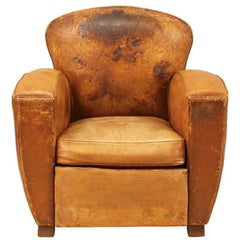 French 1920s Leather Club Chair