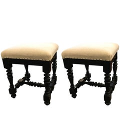 Pair of Ebonized Foot Stools, Italy, 19th Century