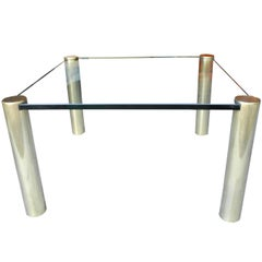 Glass and Brass Square Modern Coffee Table by Pace Collection Furniture