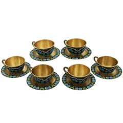 1970s Russian Silver Gilt and Polychrome Cloisonné Enamel Cups and Saucers Set
