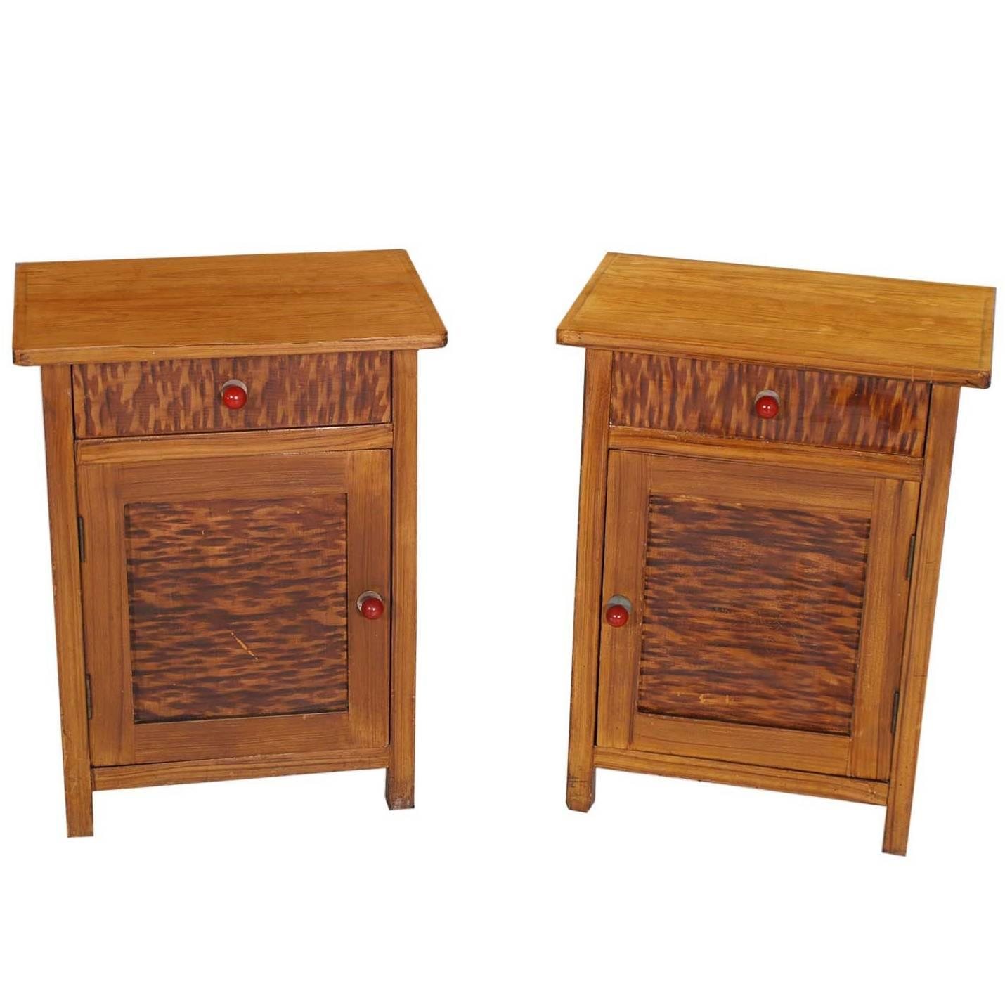 Art Deco Country Tyrol Two Hand Decorated Nightstands, solid larch Wax Polished