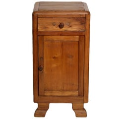 Art Deco Massive Country Nightstand in Pine, Restored and Polished to Wax