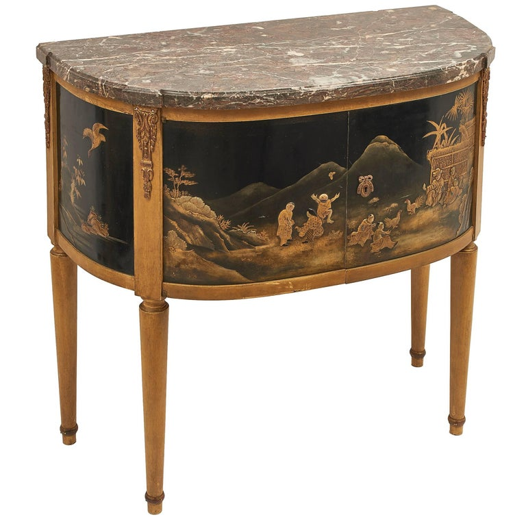 French Chinoiserie Louis XVI Style Demilune Cabinet with Marble Top, circa 1930