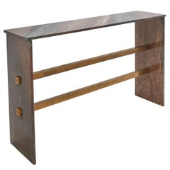 French Modernist Campana Marble and Brass Console Table, circa 1970