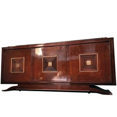 French Art Deco Walnut Sideboard in the Style of Maxime Old, 1940s