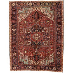 Antique Persian Heriz Rug with Modern American Craftsman Style