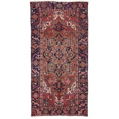 Antique Heriz Persian Gallery Rug with English Tudor Manor House Style