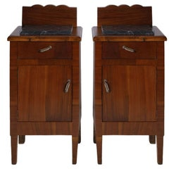 Early 20th Century Art Nouveau Italian Nightstands in Solid Walnut
