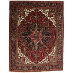 Vintage Heriz Persian Rug with Modern Traditional Style
