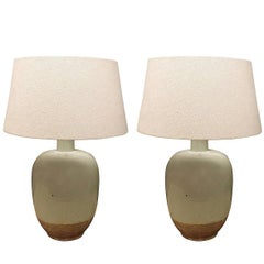 Pair of Pale Blue Lamps, China, Contemporary
