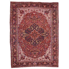 Oversize Antique Persian Heriz Rug with Modern Style
