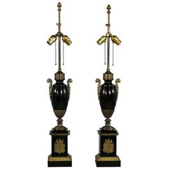 Pair of Marble and Bronze Regency Antique Table Lamps