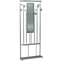 Art Deco Polished Aluminum Hall Tree Umbrella Stand Coat Rack
