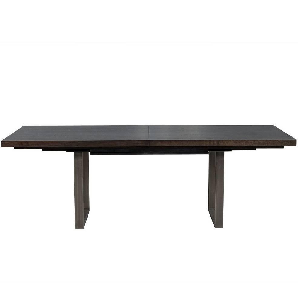 Carrocel Custom Modern Metal Base Walnut Dining Table