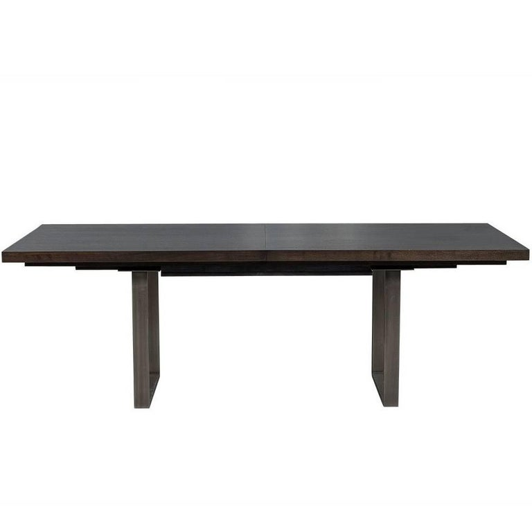Carrocel Custom Modern Metal Base Walnut Dining Table