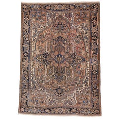 Vintage Persian Heriz Rug, Light Colored Persian Rug