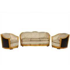 Vintage French Art Deco Parlor Set , Sofa and Two Chairs