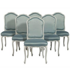 Set of Six Louis XV Style Upholstered Dining Chairs