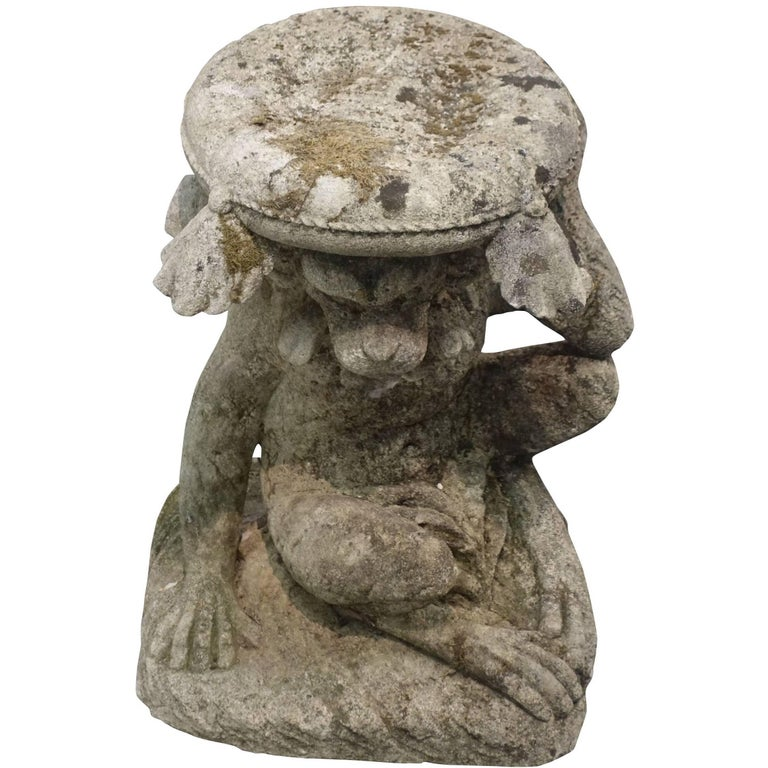 Vicenza Stone Monkey Base Side Table, Italy, 1940s For Sale