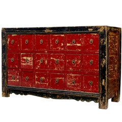 Early 20th Century Chinese Red Lacquered Chest of Drawers