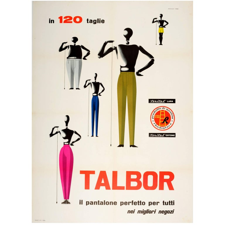 Large Original Vintage Fashion Advertising Poster for Talbor Pantalone Trousers For Sale