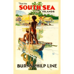 Original Vintage Burns Philp Line Shipping Poster - Visit The South Sea Islands