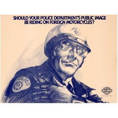 Rare Original Vintage US Police Department Harley Davidson Motorcycle Poster