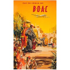 Original Vintage Airline Travel Advertising Poster - Fly To India By BOAC