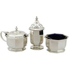 1930s Antique George VI Sterling Silver Condiment Set