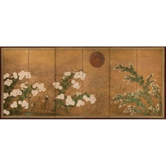 Japanese Six-Panel Screen, Autumn Garden Landscape