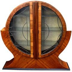 1930s English Art Deco Circular Display Cabinet in Walnut