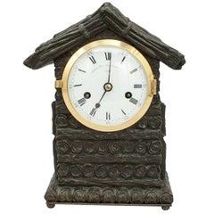Mantel Clock by Grant, Log Cabin Design