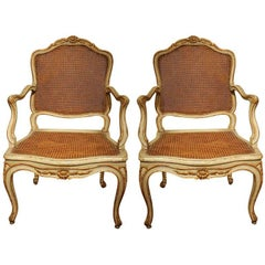 French Louis XV Green Lacquer and Gilt Wood Armchairs with Cane Seats and Back