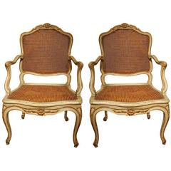 French Louis XV  Lacquer and Gilt Wood Armchairs with Cane Seats and Back