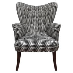 Flair Home Collection Custom Paolo Armchair in Black and White Textured Twill