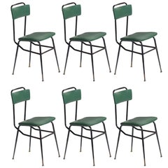 Set of Six Black Metal and Army Green Dining Chairs, circa 1950