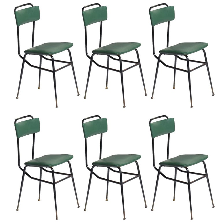 Set of Six Black Metal and Army Green Dining Chairs, circa 1950 1