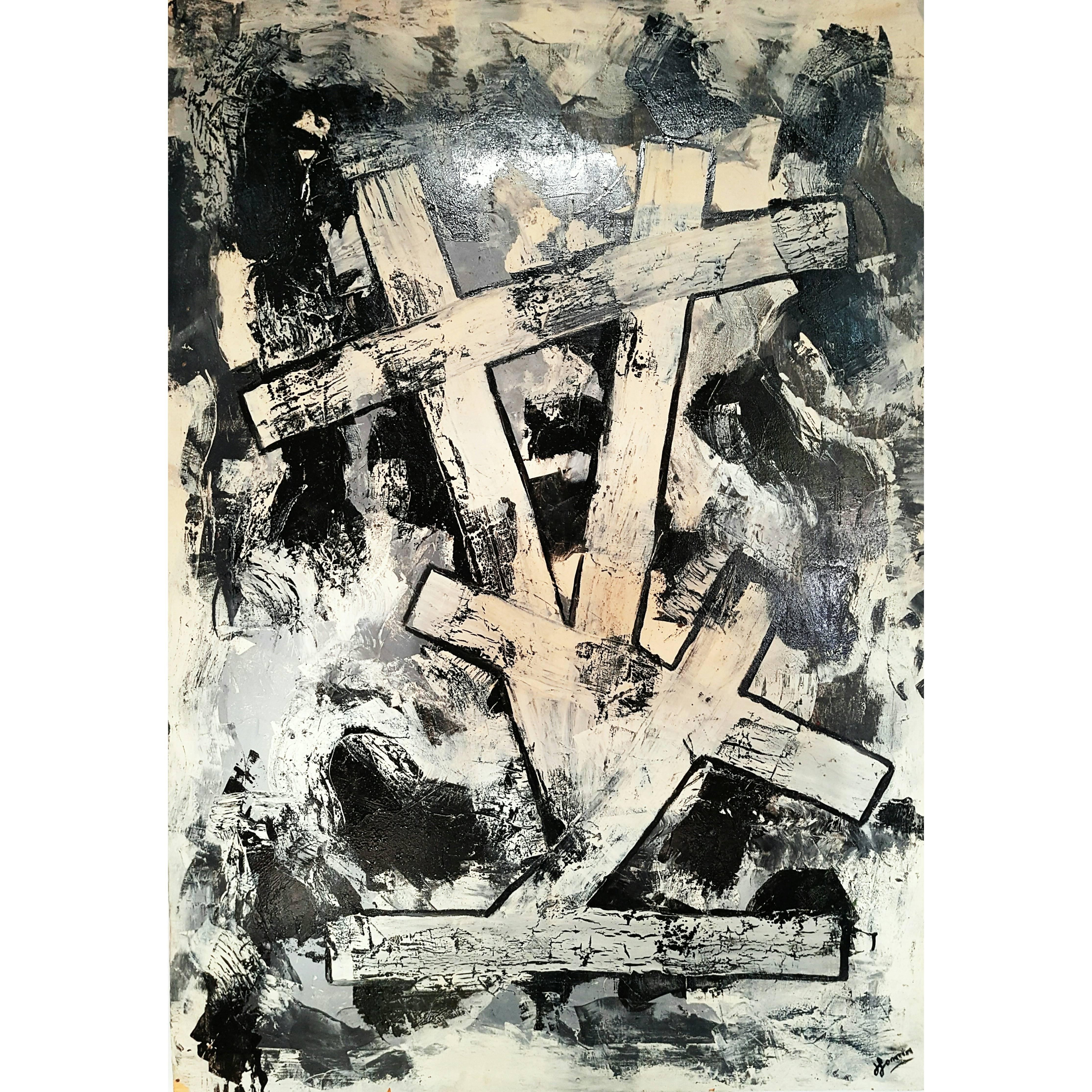 Large Brutalist Abstract Painting on Wood, Signed, France 1990s