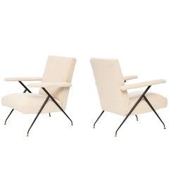 Silvio Cavatorta Enameled Pair of White Metal Leg Reclining Chairs, Italy, 1950s