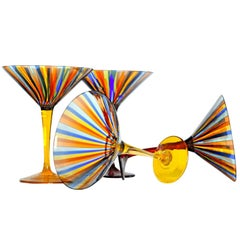 Eight Martini Glass, Cenedese a Canne, Uranium Yellow, Signed, circa 1960