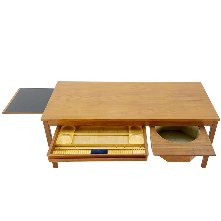 1960s teak sewing table, Johannes Andersen for CFC Silkeborg