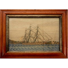 Sailor's Woolwork Picture of Royal Navy Frigate with Land in Background