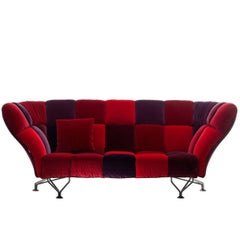 """33 Cuscini"" Loira Velvet Three-Seat Sofa Designed by Paolo Rizzatto for Driade"